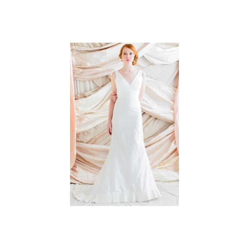 Wedding - LulaKate Elizabeth - Full Length Sheath White LulaKate Sleeveless Spring 2014 - Rolierosie One Wedding Store