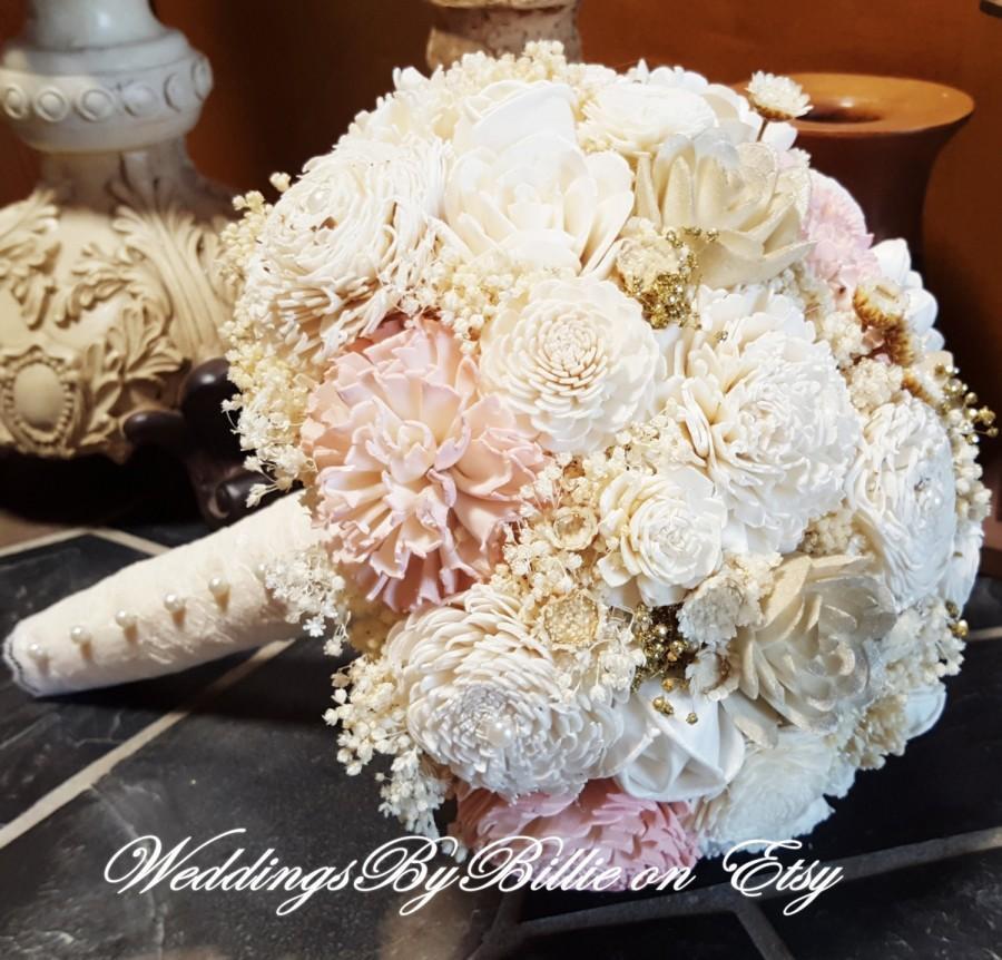 Düğün - Blush Pink Ivory Champagne Sola Bouquet, Blush Wedding, Pale Pink Wedding, Alternative Bouquet,Shabby Chic, Bridal Accessories, Sola Flowers