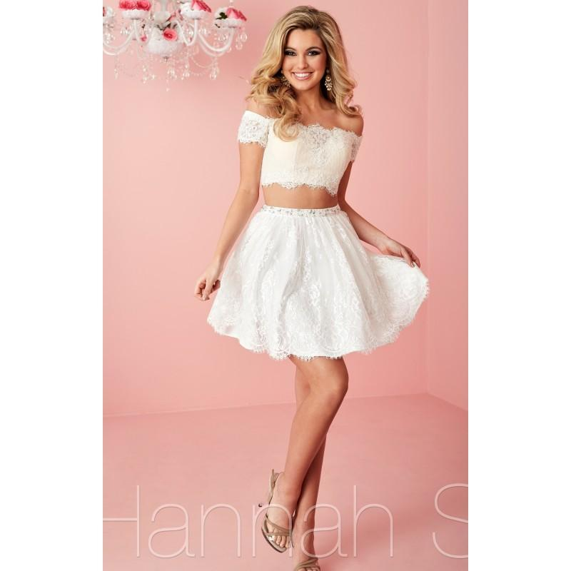 Hochzeit - Ivory/Nude Hannah S 27129 - 2-piece Sleeves Short Lace Dress - Customize Your Prom Dress