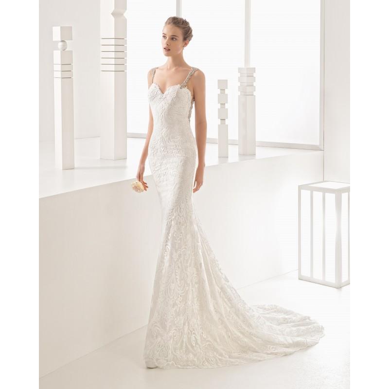 Mariage - Rosa Clara 2017 Nagore Chapel Train Ivory Sweet Sleeveless Column Straps Beading Lace Bridal Dress - Elegant Wedding Dresses