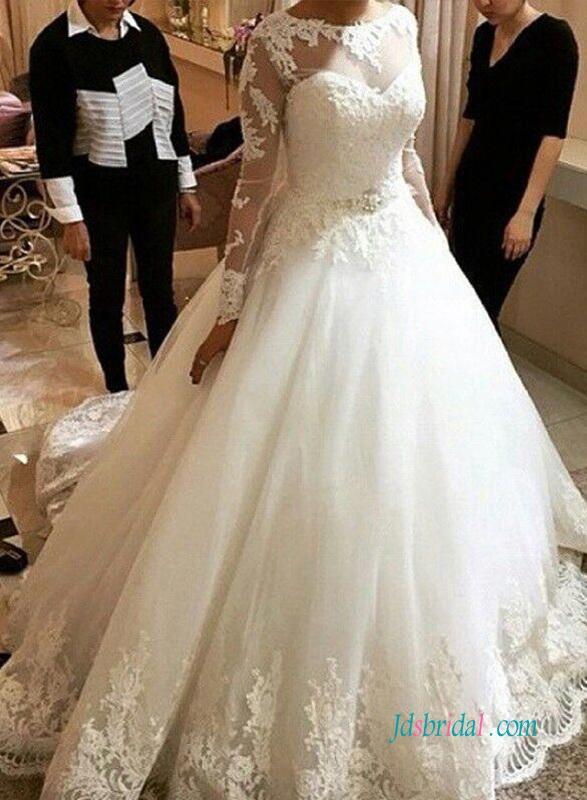 Wedding - H1007 Princess long sleeved tulle wedding dresses inspirations