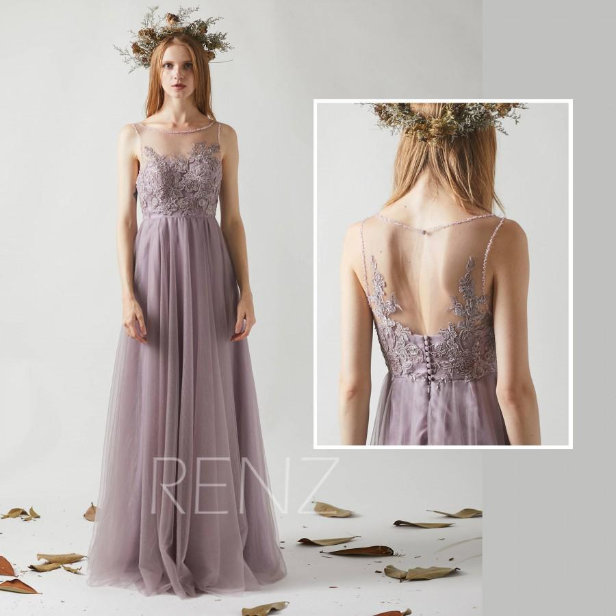 زفاف - Bridesmaid Dress Dark Mauve Tulle Dress,Beaded Boat Neck Party Dress,Lace Illusion Sweetheart Maxi Dress,Lace Applique Wedding Dress(LS357)