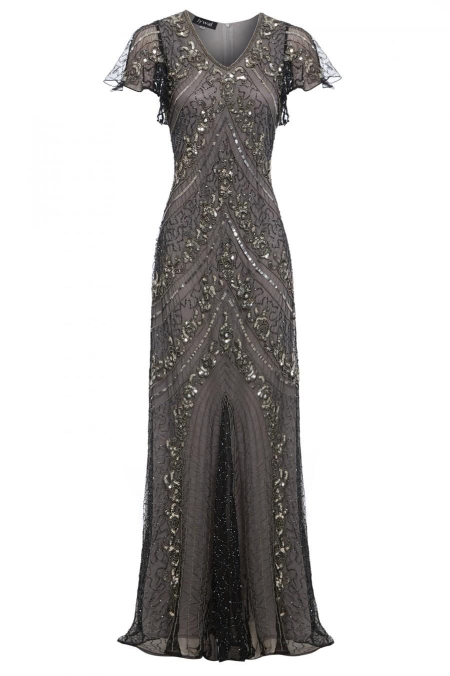 Hochzeit - Lima Embellished Flapper Dress, 1920s Great Gatsby Inspired, Downton Abbey, Wedding Ball Gown, Grey Evening Dress, Plus Size Dress, S-XXL