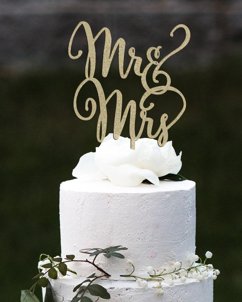 Wedding - Mr and Mrs Cake Topper, Wedding Cake Topper, Engagement Cake Topper, Bridal Shower Cake Topper, Anniversary Cake Topper, Glitter Cake Topper
