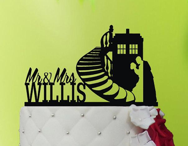 Wedding - Wedding Cake Topper TARDIS - TARDIS  cake topper  - Doctor Who Wedding - Doctor Who Cake Topper M1-01-007