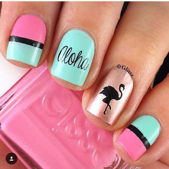 Wedding - Flamingo Nail Decals/ Nail Stencils