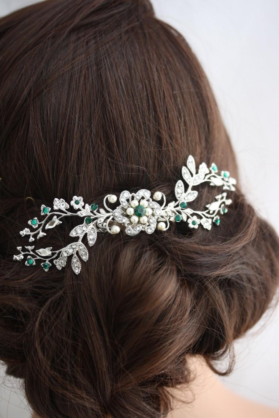 Hochzeit - Wedding Hair Comb Emerald Green Crystal Bridal Headpiece Vintage Vine Comb Crystal Headpiece Wedding Hair Accessories  SPLENDID SABINE COMB