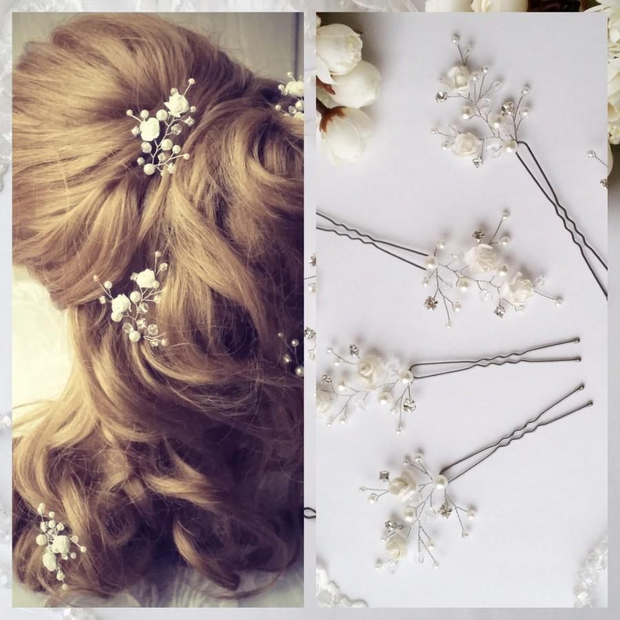 زفاف - White Flower Wedding hair pins,hair vine,pins, Bridal hair pins, hair pins, Bridal headpiece,Bridal hairpiece Wedding hair3