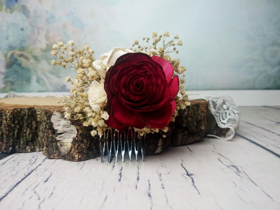 Deep Red Rose Preserved Gypsophila Hair Comb Alternative Bride