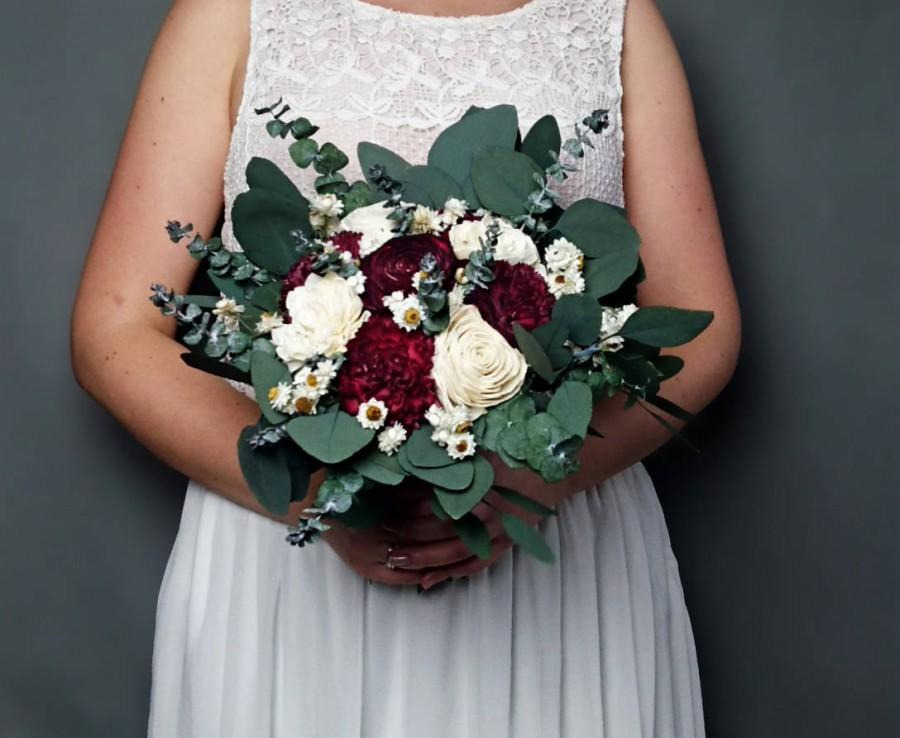 Wedding - Burgundy wedding bouquet preserved eucalyptus baby blue dark wine white ivory dried flowers sola vintage style bridal bridesmaid elegant - $82.00 USD
