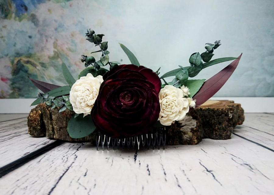 Wedding - Preserved eucalyptus hair comb Ivory dark burgundy boho wedding Bridal hairpiece Sola Flower greenery accessory maroon - $45.00 USD
