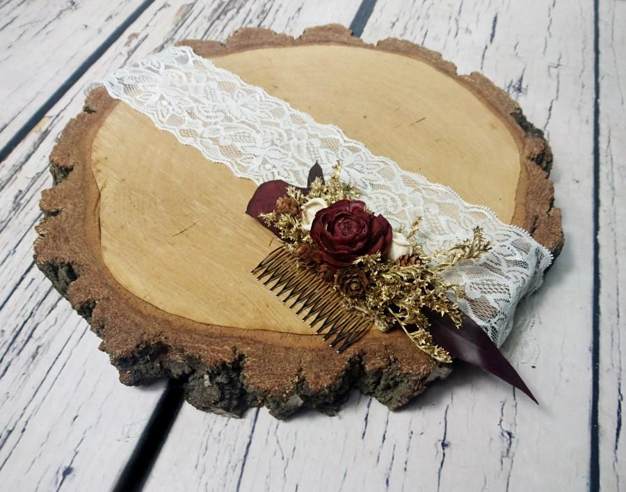 Wedding - Burgundy gold preserved eucalyptus HAIR COMB cedar rose dried flowers tiny cones sola rustic woodland wedding burlap hair piece bridal - $30.00 USD