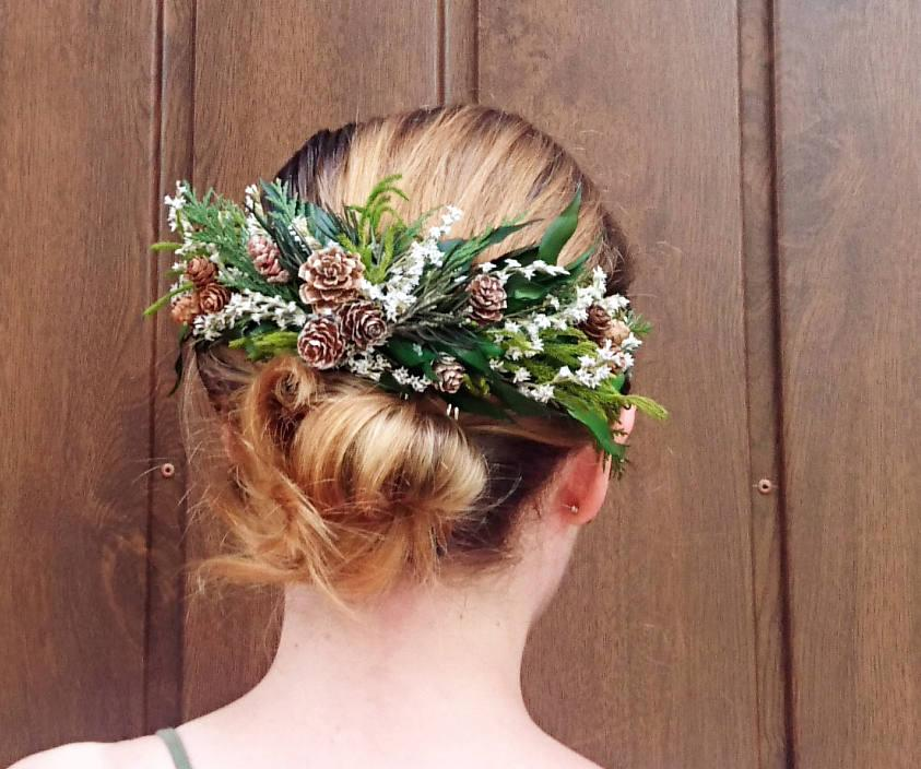 Wedding - Conifer hair comb woodland wedding natural thuja greenery bridal hairpiece green preserved real leafs pine cones organic eco style winter - $55.00 USD