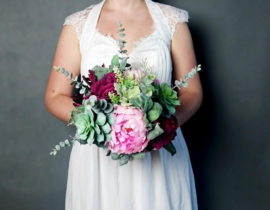 Wedding - Large wedding bouquet realistic silk flowers marsala wine burgundy pink green succulents dusty miller greenery roses peony eucalyptus boho - $135.00 USD