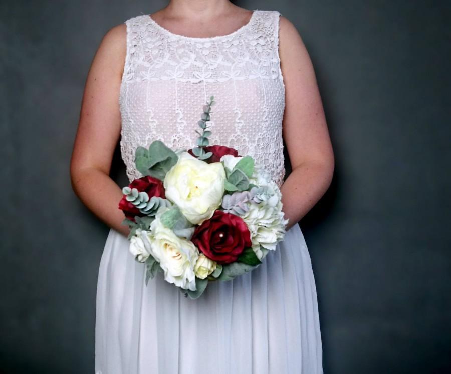 Wedding - Medium wedding bouquet realistic silk flowers bridesmaid burgundy ivory greenery rose hydrangea eucalyptus elegant rustic burlap lace pearls - $70.00 USD