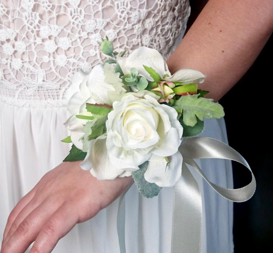 Wedding - Wedding wrist corsage realistic silk flowers roses dusty miller flocked leafs greenery ivory simple elegant green natural mother of bride - $28.00 USD