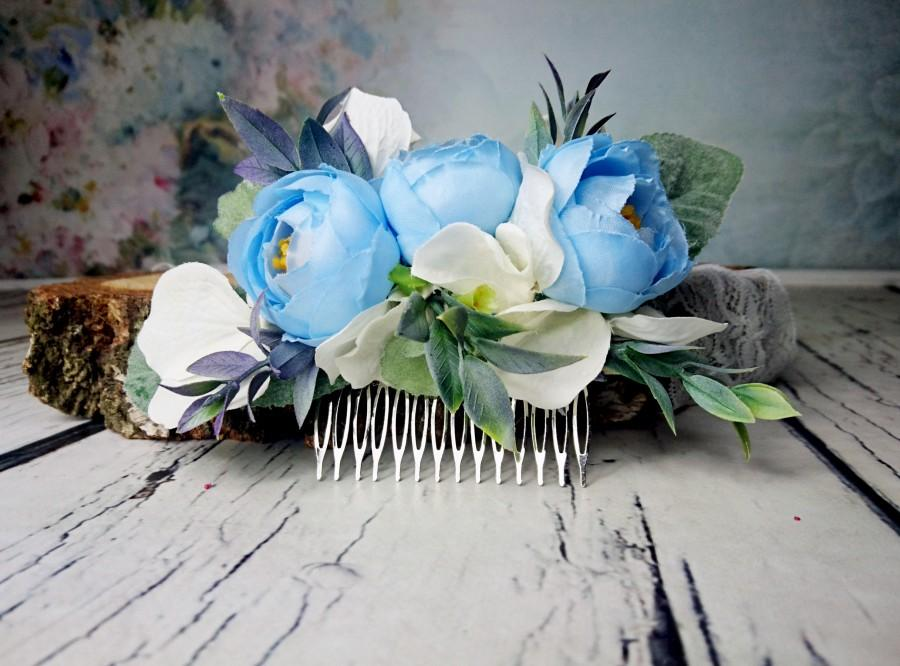 Wedding - Pastel blue white greenery cold green rustic HAIR COMB silk flowers peony ranunculus hydrangea dusty miller hair piece bridal accessory - $36.00 USD