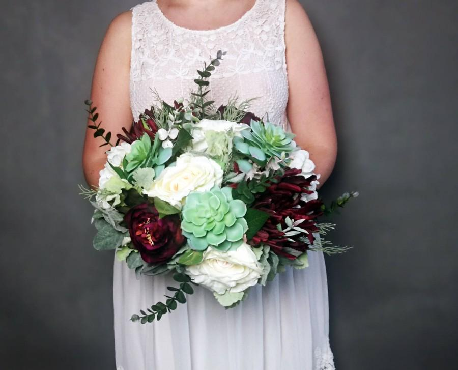 Wedding - Big wedding bouquet realistic silk flowers burgundy ivory green succulents dusty miller greenery roses hydrangea peony eucalyptus elegant - $198.00 USD