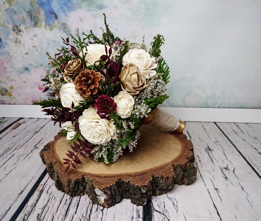 Wedding - BIG ivory burgundy wine gold green rustic elegant autumn fall winter woodland wedding BOUQUET sola flower pine cone cedar rose satin ribbon - $160.00 USD