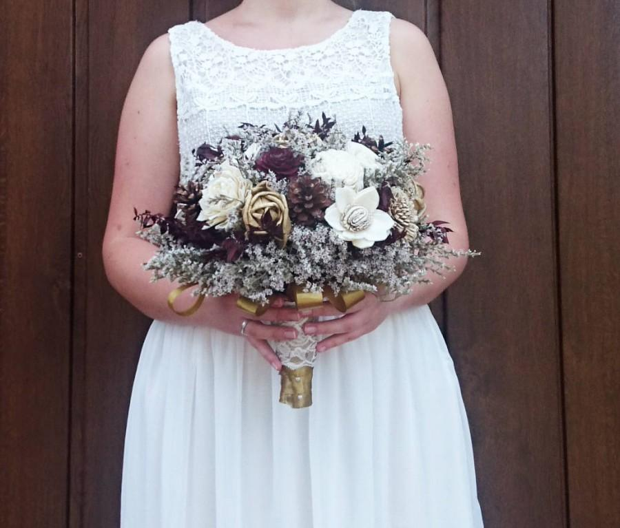 Wedding - BIG ivory burgundy wine gold rustic elegant autumn fall winter woodland wedding BOUQUET sola flower pine cone cedar rose pearls satin ribbon - $155.00 USD
