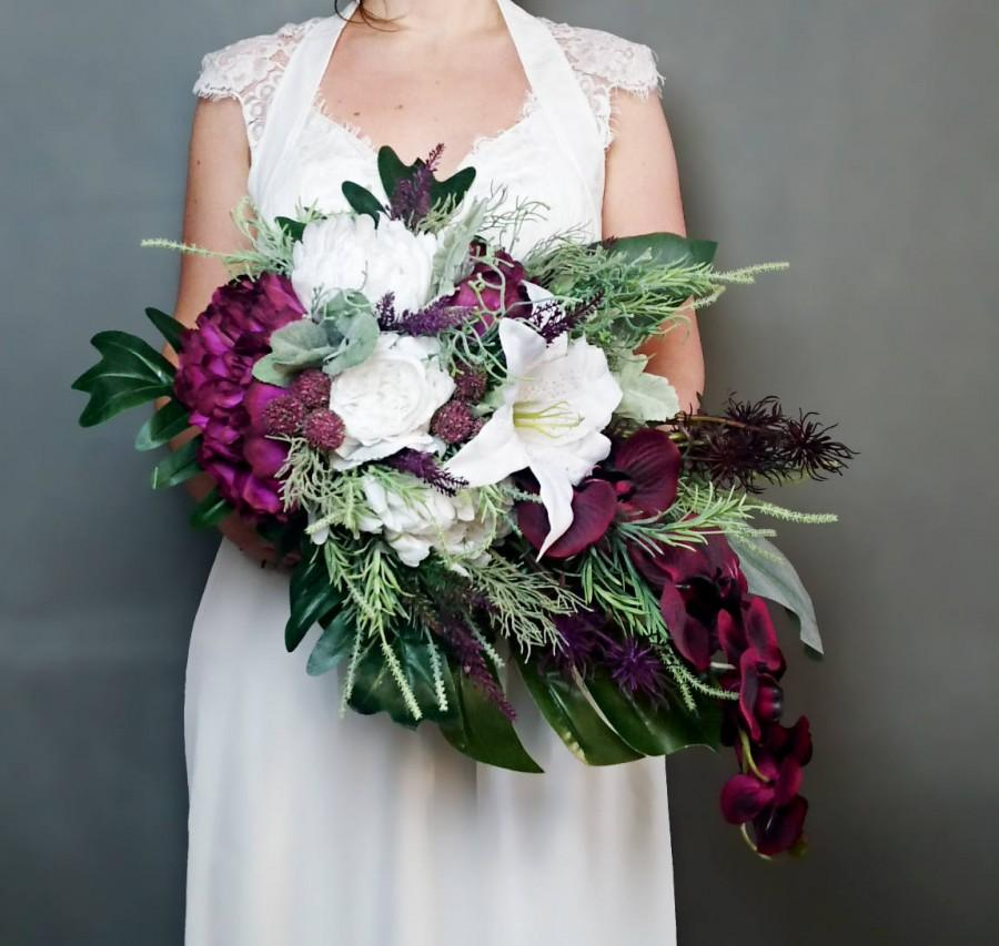 Mariage - Plum purple white tropical flowers winter wedding bridal bouquet cascade greenery orchid lily rose monstera banana leaf grasses big original - $260.00 USD