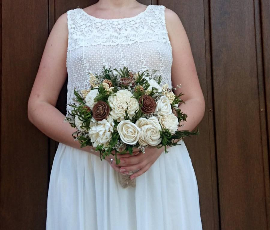 Wedding - Large cedar rose greenery rustic wedding BOUQUET Ivory sola Flowers preserved cypress Burlap bridal woodland natural organic eco flowers - $145.00 USD