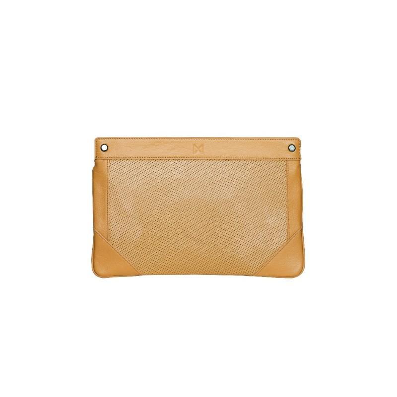 Boda - MOFE Handbags - Lacuna Sleek Clutch Tan/Gunmetal / Genuine Leather - Designer Party Dress & Formal Gown