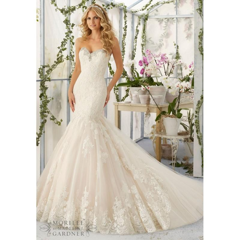Fit And Flare Wedding Dresses: Mori Lee 2804 Strapless Lace Fit & Flare Wedding Dress