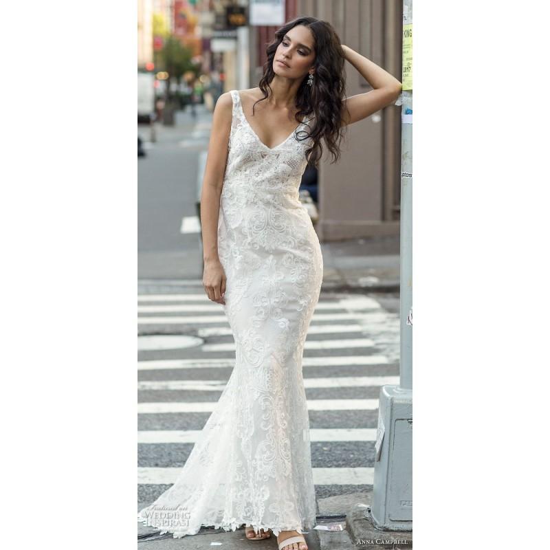 Свадьба - Anna Campbell Fall/Winter 2018 HARLOW Lace Embroidery Ivory Elegant Sweep Train V-Neck Sheath Sleeveless Wedding Dress - Fantastic Wedding Dresses
