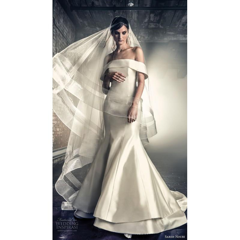 Elegant Silk Wedding Dresses With Sleeves: Sareh Nouri Fall/Winter 2018 Estee Simple Off-the-shoulder