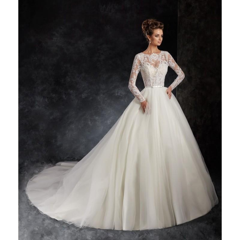 Wedding - Ira Koval 2017 614 Chapel Train Sweet Tulle Appliques Ivory Illusion Long Sleeves Ball Gown Bridal Dress - Charming Wedding Party Dresses