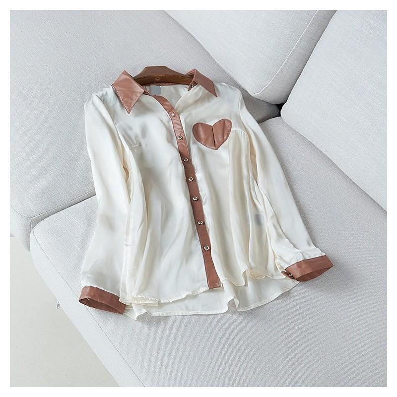 Mariage - Slimming Polo Collar Long Sleeves Chiffon Silk Summer Blouse - Discount Fashion in beenono