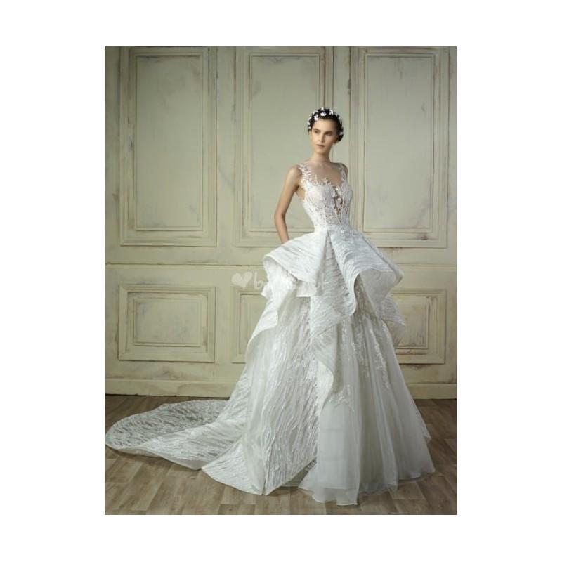 Wedding - w18 5224 (Gemy Maalouf) Corte Princesa Escote Ilusión Largo Sin mangas - Vestidos de novia 2018