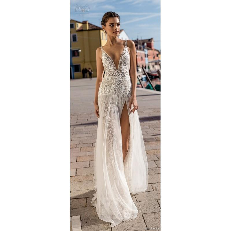 Hochzeit - Gali Karten 2018 Ivory Sweep Train Split V-Neck Sleeveless Aline Embroidery Lace Bridal Gown - Customize Your Prom Dress