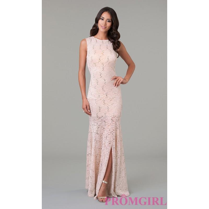 زفاف - Floor Length Sleeveless Lace Dress with Back Cut Out - Brand Prom Dresses