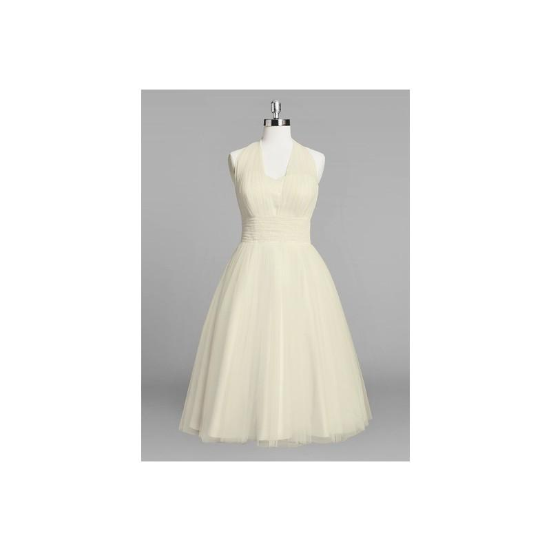 Свадьба - Champagne Azazie Fabiana BG - Bow/Tie Back Halter Tulle And Lace Knee Length Dress - Charming Bridesmaids Store