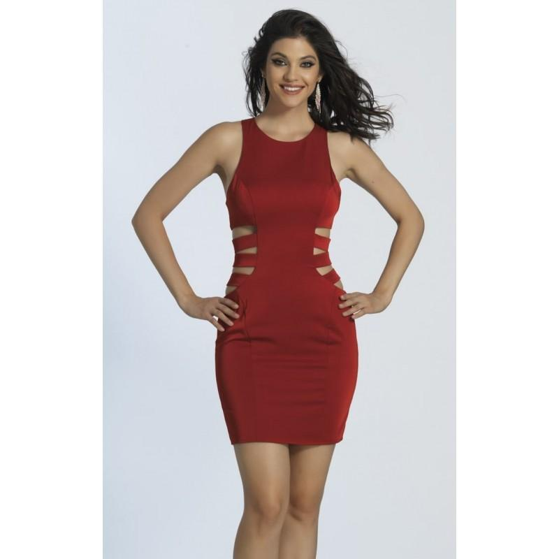 Hochzeit - Red Cutout Mini Dress by Dave and Johnny - Color Your Classy Wardrobe