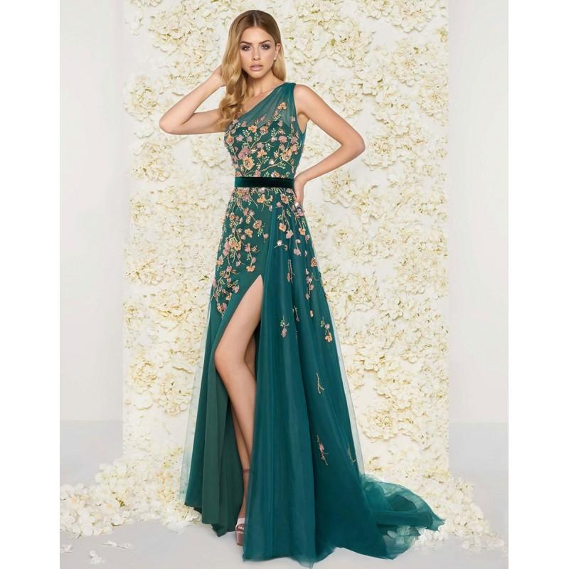 Свадьба - Mac Duggal Couture - 50433D Floral Asymmetric Neck A-Line Gown - Designer Party Dress & Formal Gown