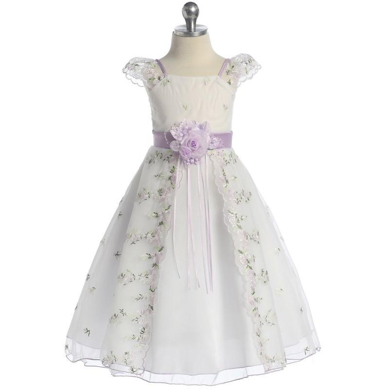 Wedding - Lilac Floral Embroidered Organza Girl Dress Style: D4190 - Charming Wedding Party Dresses