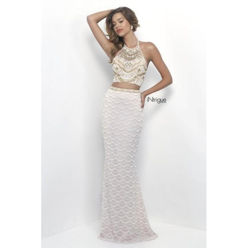 Blush Intrigue 263 Prom Dress - Halter 2 PC, Crop Top, Fitted Prom ...
