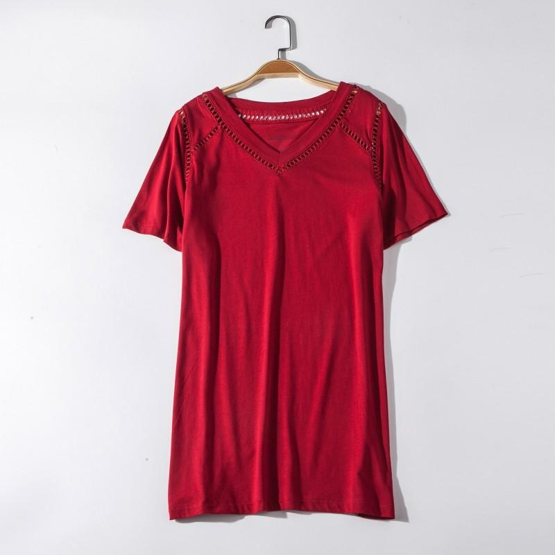 Свадьба - Hollow Out Plus Size V-neck One Color Short Sleeves Essential T-shirt - Discount Fashion in beenono