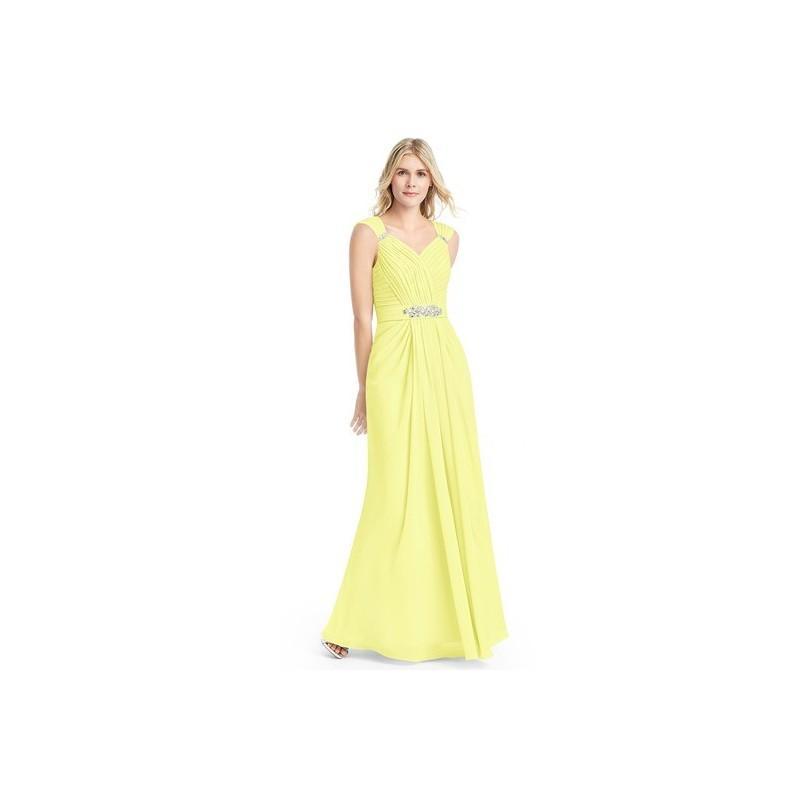 Wedding - Daffodil Azazie Charlie - V Back Floor Length Chiffon V Neck Dress - Charming Bridesmaids Store