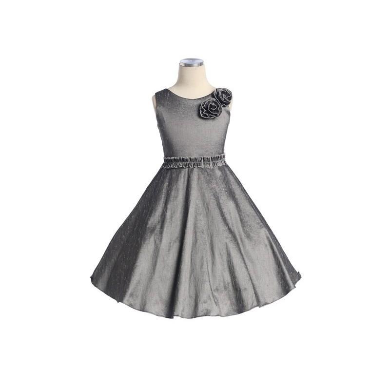 Wedding - Grey Stretch Taffeta Dress w/2 Flowers at Shoulder Style: D3790 - Charming Wedding Party Dresses