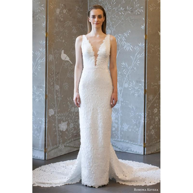 Hochzeit - Romona Keveza rk8406 Spring/Summer 2018 Elegant Sleeveless Chapel Train Spring Lace Wedding Gown - Customize Your Prom Dress