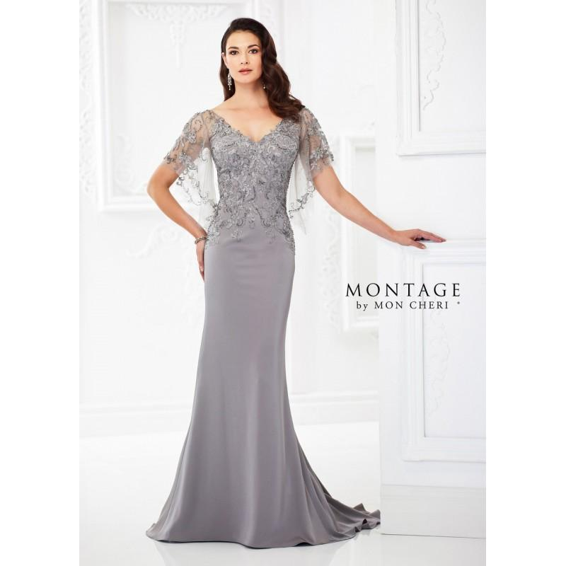 6f64f35a2b5 Montage by Mon Cheri - 118967 Illusion V-neckline Sheath Gown - Designer  Party Dress   Formal Gown