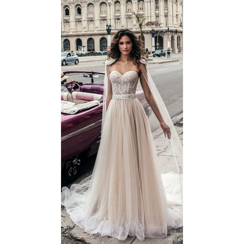 Mariage - Julie Vino Fall/Winter 2018 1506 Blush Sleeveless Sweetheart Ball Gown Sweet Chapel Train Tulle Beadin Dress For Bride - Stunning Cheap Wedding Dresses