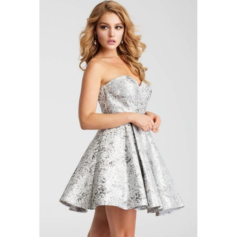 Mariage - Jovani - JVN53203 Strapless Metallic Fit and Flare Dress - Designer Party Dress & Formal Gown