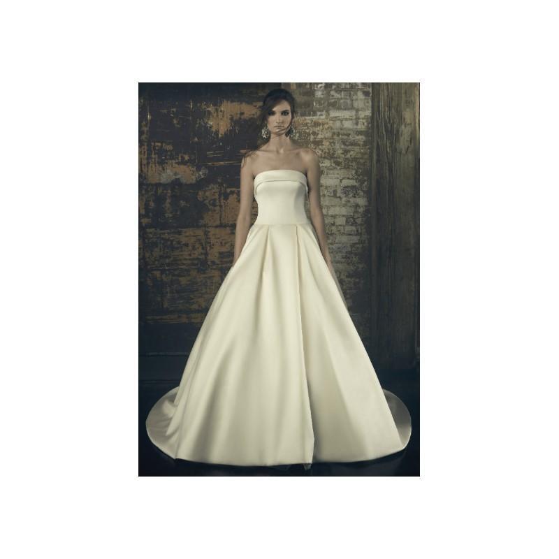 Wedding - Sareh Nouri Fall/Winter 2018 Elinor Simple Chapel Train Ivory Satin Ball Gown Strapless Sleeveless Bridal Dress - Fantastic Wedding Dresses