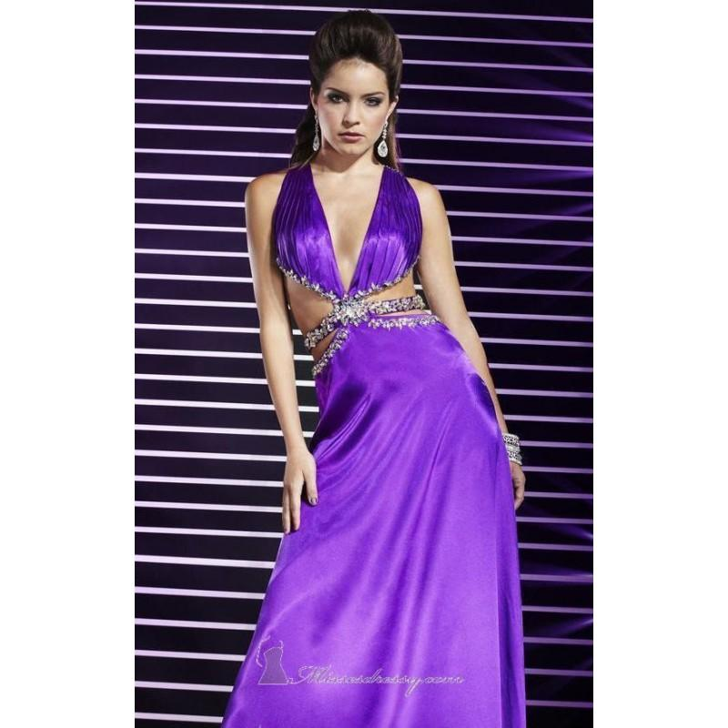 Wedding - Purple Beaded V Neckline Charmeuse Gown by Studio 17 - Color Your Classy Wardrobe