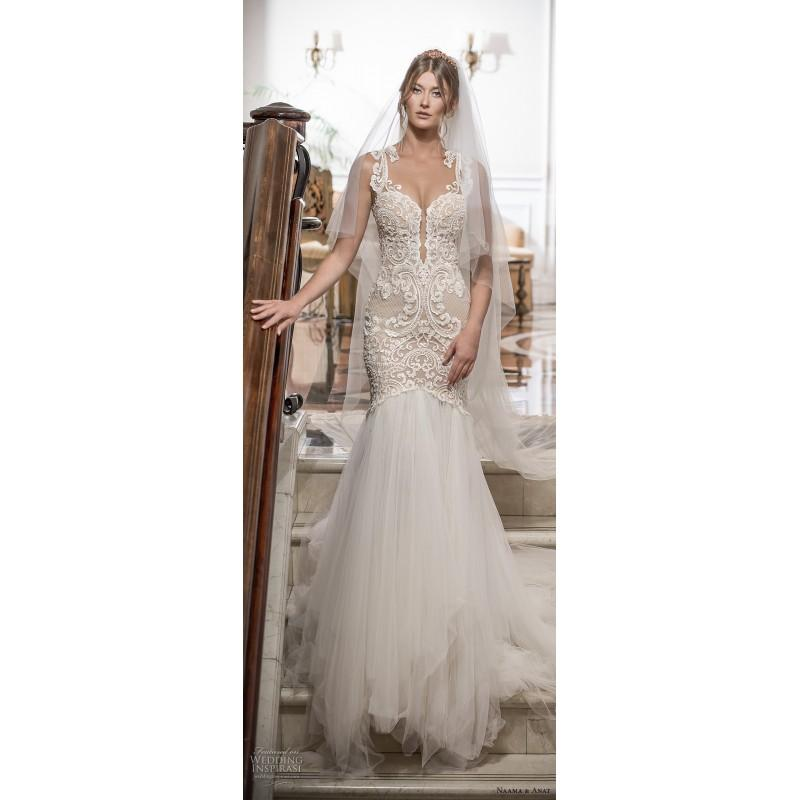 Wedding - Naama & Anat Devine 2018 Chapel Train Sweetheart Sweet Mermaid Champagne Sleeveless Embroidery Hall Spring Tulle Bridal Dress - Elegant Wedding Dresses